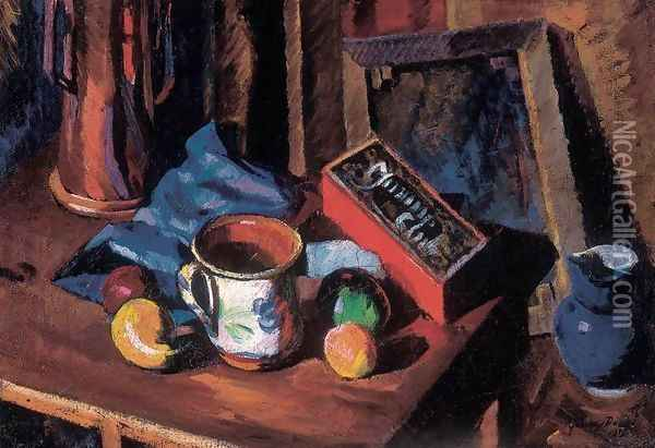 Atelier Still-life with Blue Jar 1919 Oil Painting - Dezso Tipary