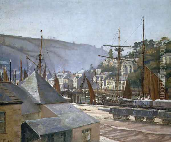 The Quayside, Brixham Oil Painting - Eleanor S. Temple