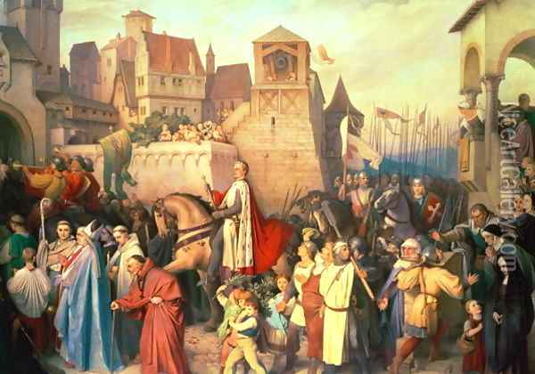 Duke Leopold the Glorious 1176-1230 enters Vienna on his return from the Crusades Oil Painting - Josef Mathias Trenkwald