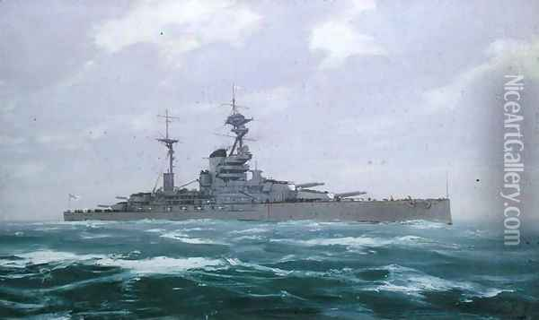 HMS Resolution, 1923 Oil Painting - Duff Tollemache