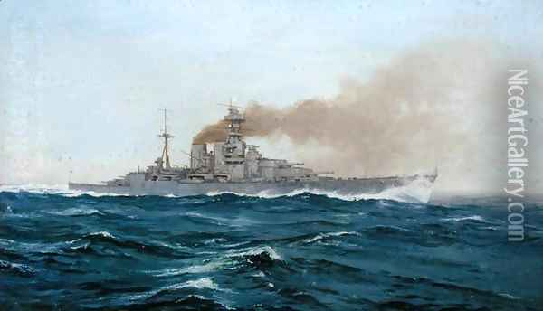 HMS Hood, 1919 Oil Painting - Duff Tollemache