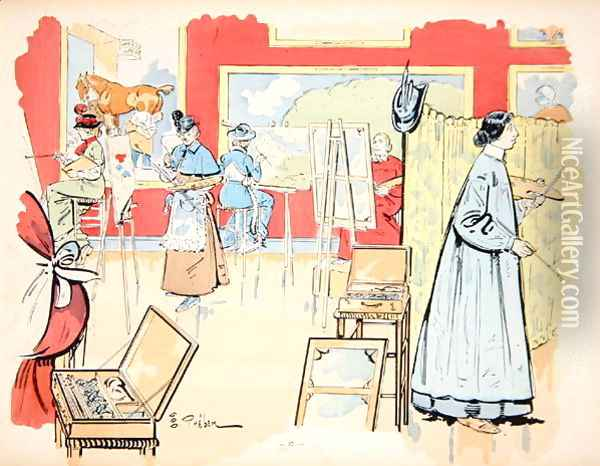 Ladies attending a painting class, 1902 Oil Painting - E. Thelem
