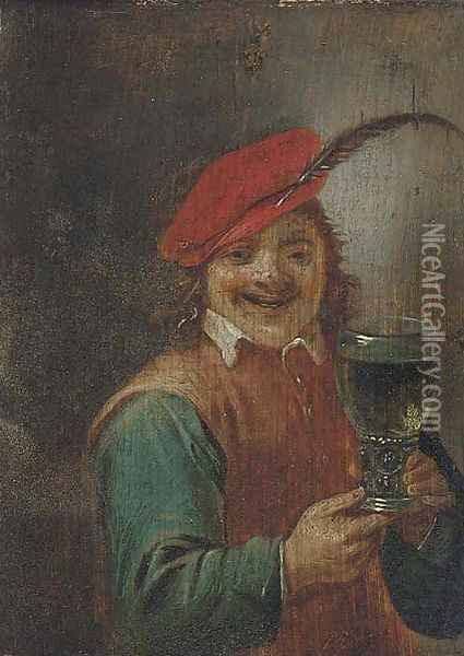 A boor holding a roemer Oil Painting - David The Younger Teniers