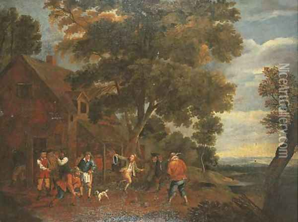 Peasants playing bowls outside an inn Oil Painting - David The Younger Teniers