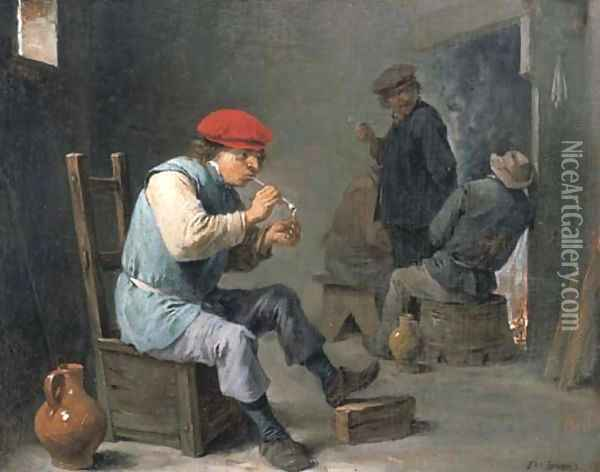Smokers in a tavern Oil Painting - David The Younger Teniers