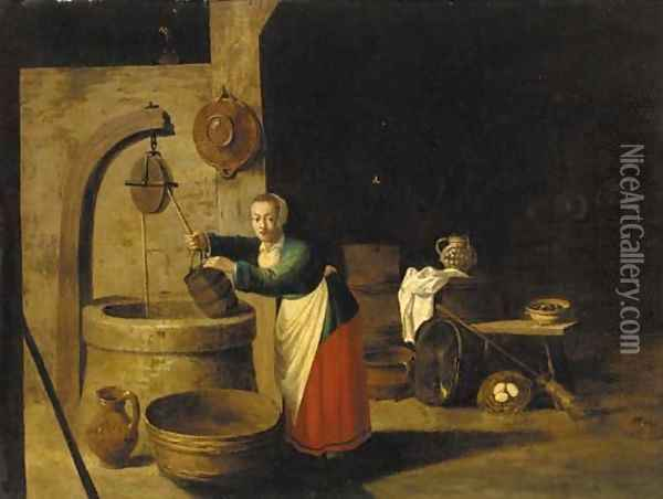 A barn interior with a woman at a well Oil Painting - David The Younger Teniers