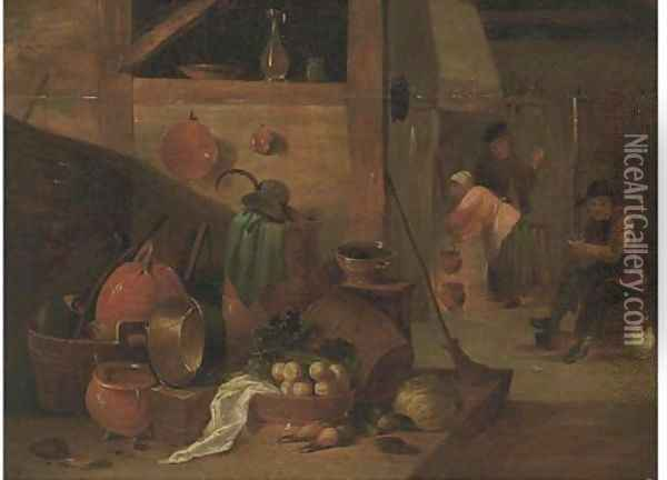 A kitchen interior with peasants Oil Painting - David The Younger Teniers