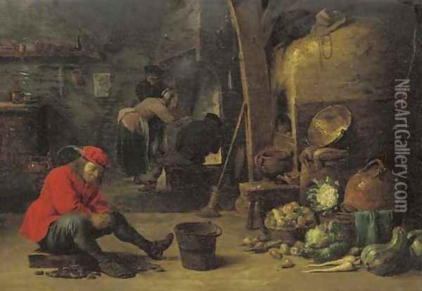 A kitchen interior with a man shucking mussels, and figures around a fire Oil Painting - David The Younger Teniers