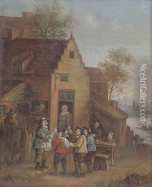 A town crier outside an inn Oil Painting - David The Younger Teniers
