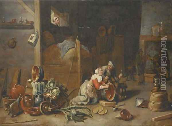 An interior with a maid scourging a pan and talking to a boor, with other peasants smoking and drinking beyond Oil Painting - David The Younger Teniers