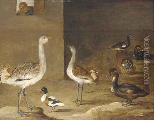 Fowl in a barn with a peasant at a window Oil Painting - David The Younger Teniers