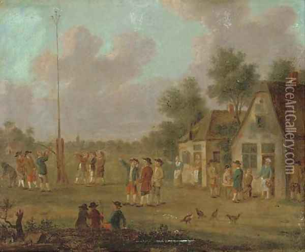 Peasants outside a tavern playing skittles; and Figures outside a tavern by a May pole Oil Painting - David The Younger Teniers