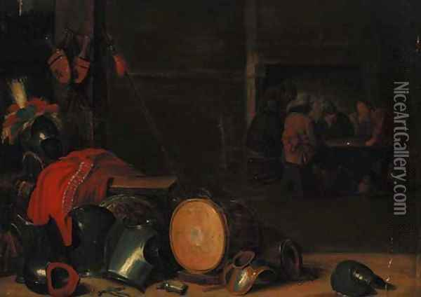 A guardroom interior Oil Painting - David The Younger Teniers