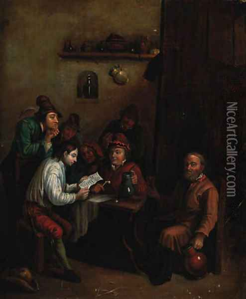Peasants in an interior Oil Painting - David The Younger Teniers