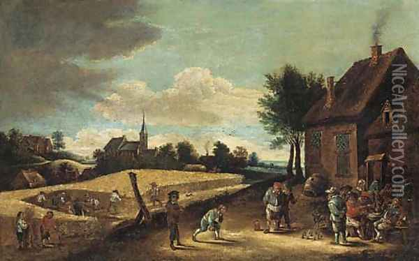 Peasants playing skittles outside an inn with farmhands harvesting in a nearby field Oil Painting - David The Younger Teniers