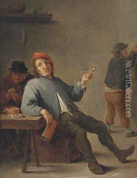 A boor smoking in an interior Oil Painting - David The Younger Teniers