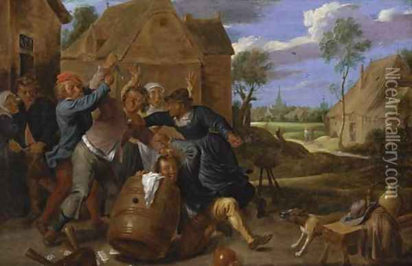 A brawl outside a tavern Oil Painting - David The Younger Teniers