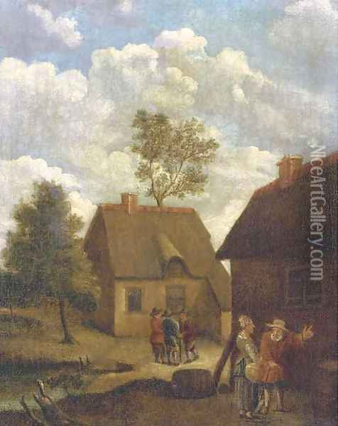A farmyard with figures conversing Oil Painting - David The Younger Teniers