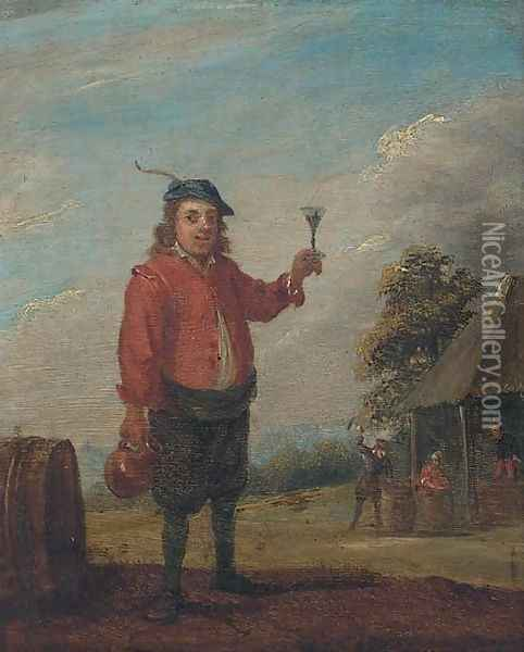 A peasant holding a jug and a roemer of wine near an inn Oil Painting - David The Younger Teniers
