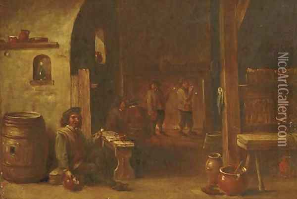 Boors drinking and smoking in an inn Oil Painting - David The Younger Teniers