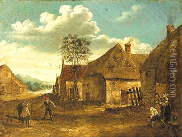 Boors playing at skittle on a farmyard Oil Painting - David The Younger Teniers