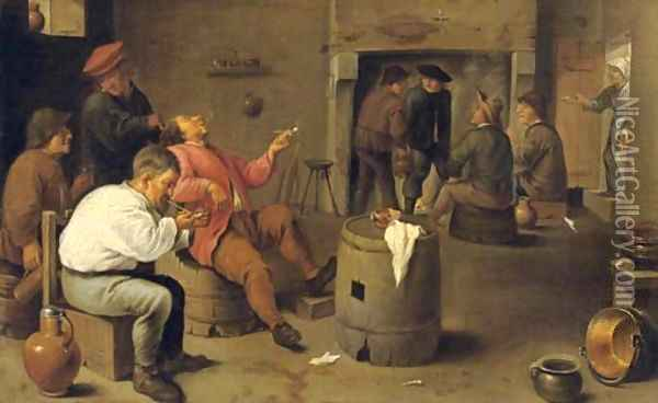 Boors smoking and drinking in an interior Oil Painting - David The Younger Teniers