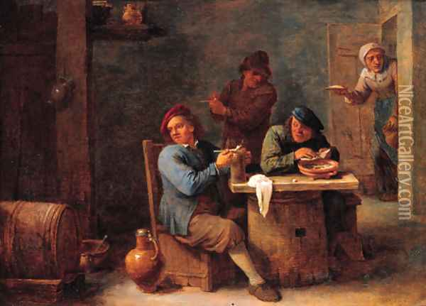 Boors smoking in a barn Oil Painting - David The Younger Teniers