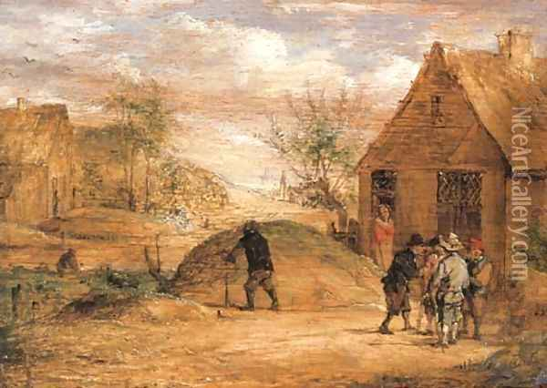Peasants conversing outside a house Oil Painting - David The Younger Teniers