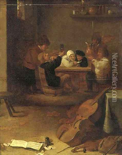 Peasants drinking and smoking in an inn, musical instruments in the foreground Oil Painting - David The Younger Teniers