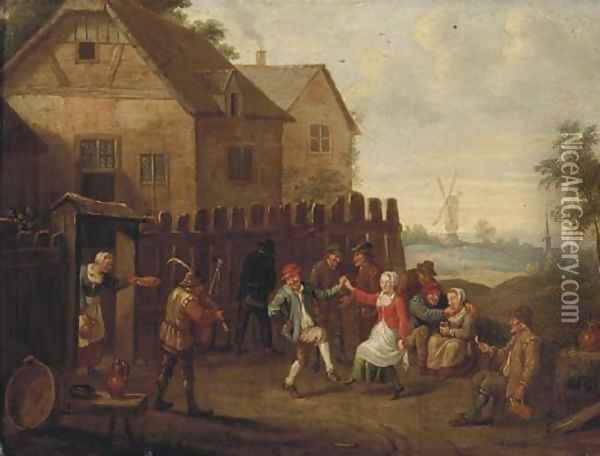 Peasants merrymaking and dancing by an inn Oil Painting - David The Younger Teniers