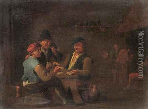 Peasants playing cards in an inn Oil Painting - David The Younger Teniers