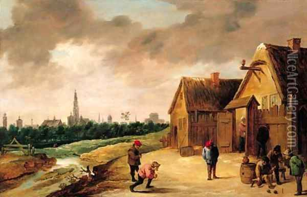 Peasants playing skittles beside a stream outside an inn, a view of Antwerp beyond Oil Painting - David The Younger Teniers
