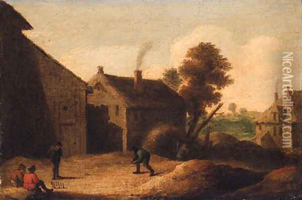 Peasants playing skittles by a farm Oil Painting - David The Younger Teniers