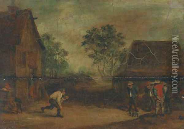 Peasants playing skittles outside an inn Oil Painting - David The Younger Teniers