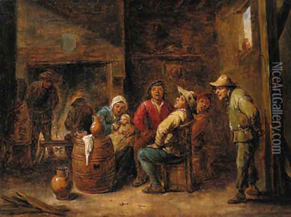 Peasants singing and a mother with her child in an interior Oil Painting - David The Younger Teniers