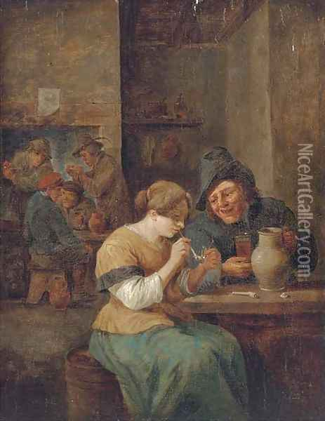 Peasants smoking and drinking in a tavern 2 Oil Painting - David The Younger Teniers