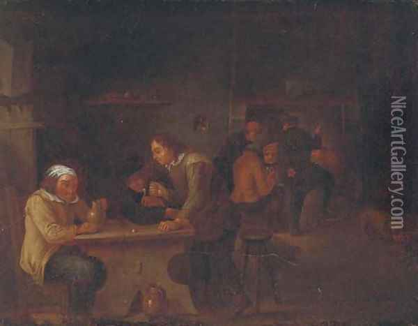 Peasants smoking and drinking in an interior Oil Painting - David The Younger Teniers
