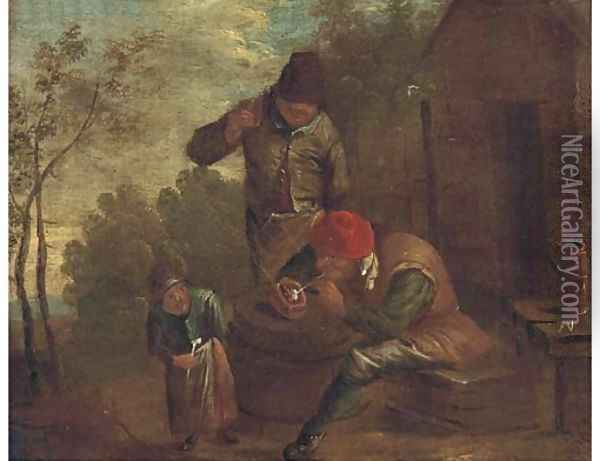 Peasants smoking and drinking outside a cottage Oil Painting - David The Younger Teniers