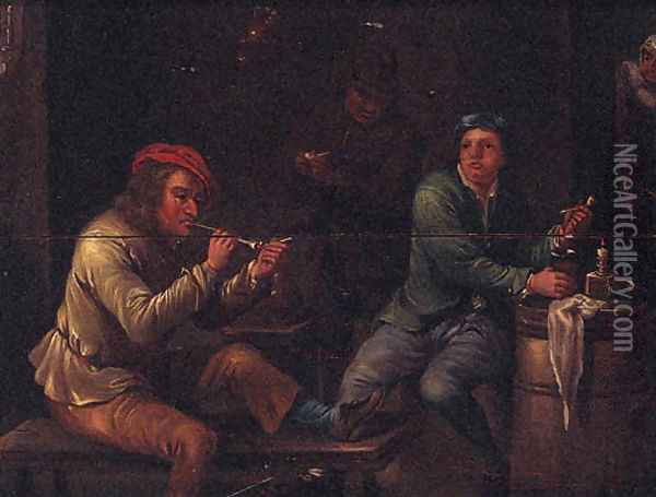 Peasants Smoking In A Tavern Interior Oil Painting - David The Younger Teniers