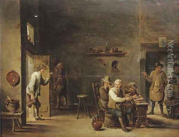 Peasants smoking in an interior with other figures by a fireplace Oil Painting - David The Younger Teniers