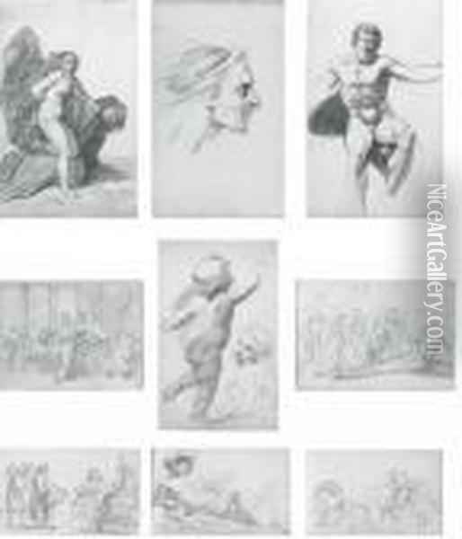 A Sketchbook Of Eighty-one Drawings, Including An Expressive Male Head ( Oil Painting - Benjamin West