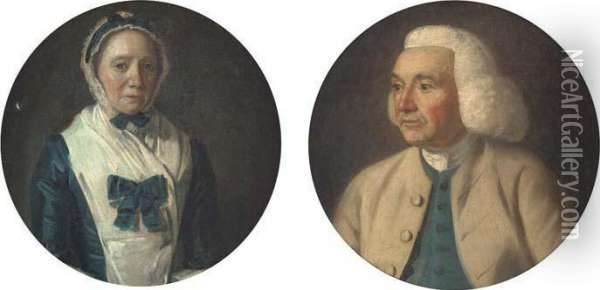 Portrait Of A Gentleman, Small  Bust-length, In A Brown Coat Andblue Waistcoat; And Portrait Of A Lady,  Small Bust-length, In Ablue Dress Oil Painting - Francis Wheatley