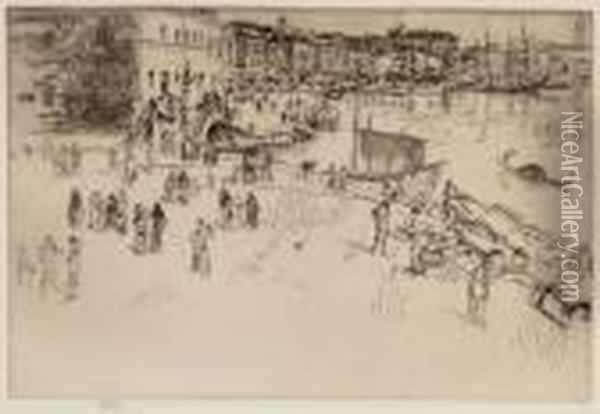 The Riva I , From  Venice, A Series Of Twelve Etchings Oil Painting - James Abbott McNeill Whistler