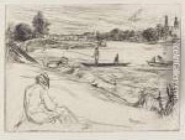 Sketching, No. 2. (k. 87) Oil Painting - James Abbott McNeill Whistler