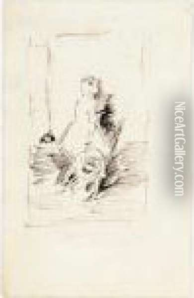 Sketch For 'harmony In Green And Grey: Miss Cicely Alexander' Oil Painting - James Abbott McNeill Whistler