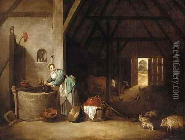 The interior of a barn with a woman at a well Oil Painting - David The Younger Teniers