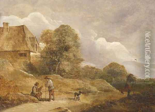 Travellers resting by a sandy track near a farm Oil Painting - David The Younger Teniers