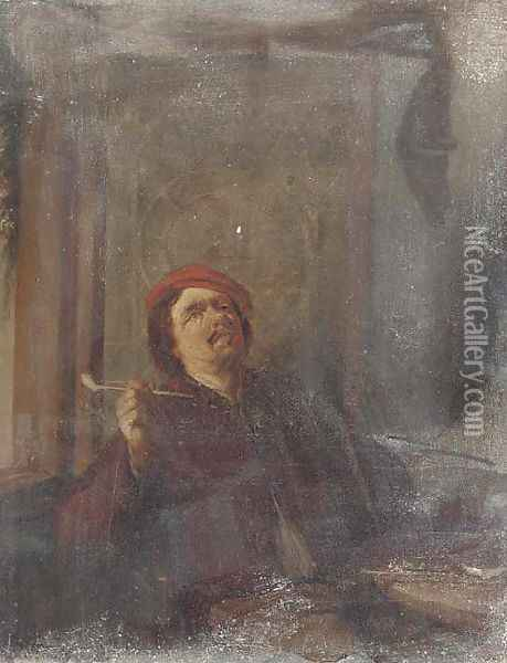 A boor smoking a pipe Oil Painting - David The Younger Teniers