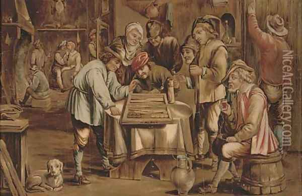 A game of backgammon Oil Painting - David The Younger Teniers