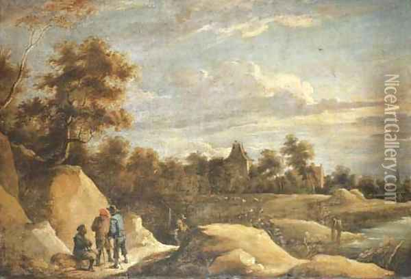 A landscape with peasants conversing on a path by a river, a chateau beyond Oil Painting - David The Younger Teniers